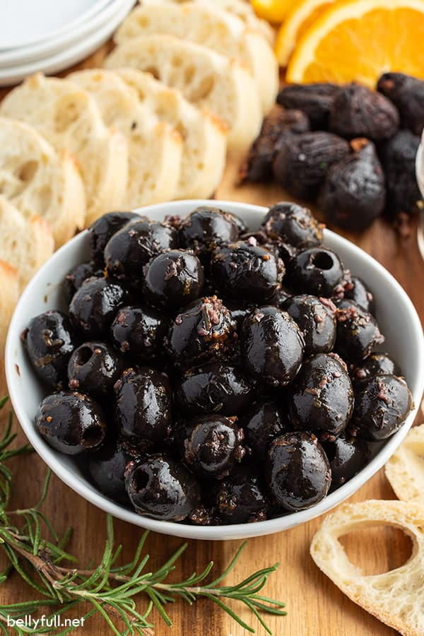 homemade marinated olives in white bowl