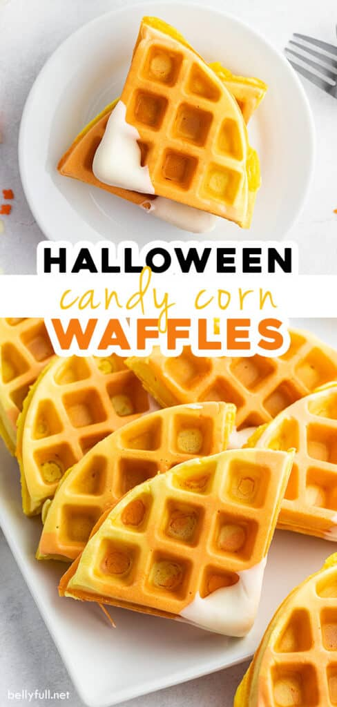 pin for Halloween Candy Corn Waffles