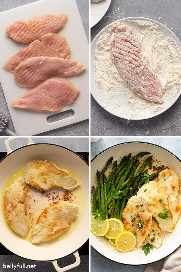 4 picture collage of chicken piccata ingredients