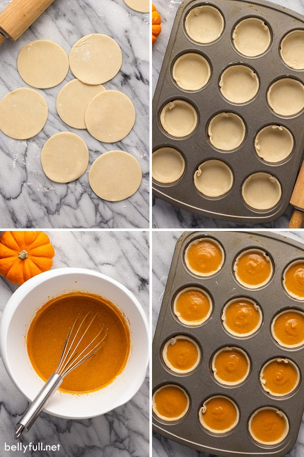 4 picture collage for mini pumpkin pie ingredients