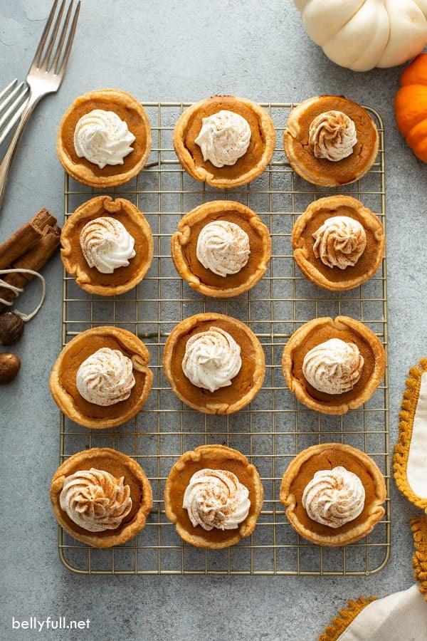 overhead of 12 mini pumpkin pies on cooling rack