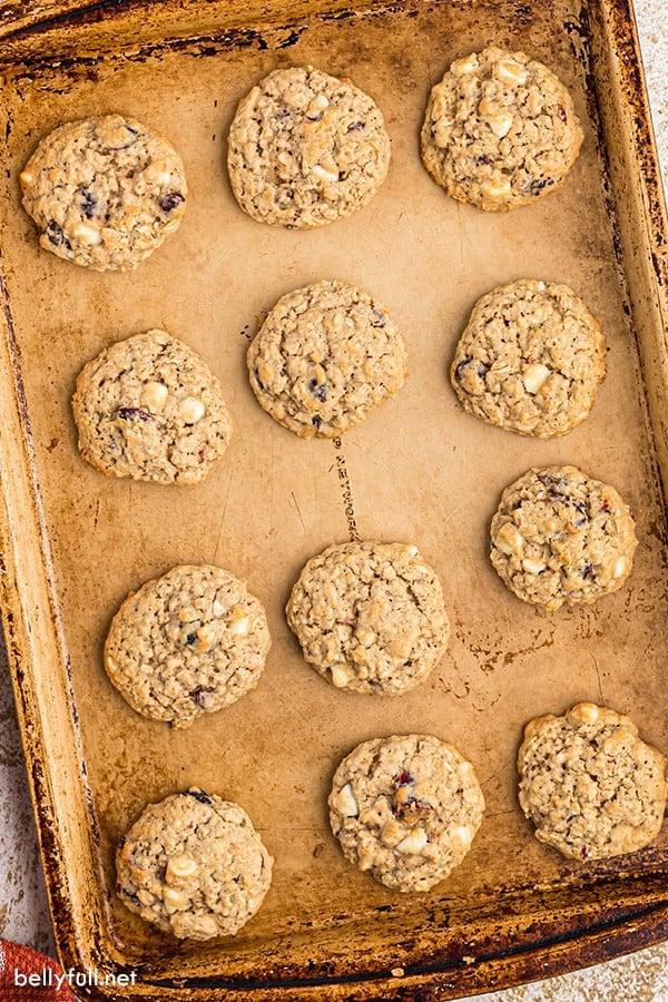 overhead of oatmeal cookies on baking sheet