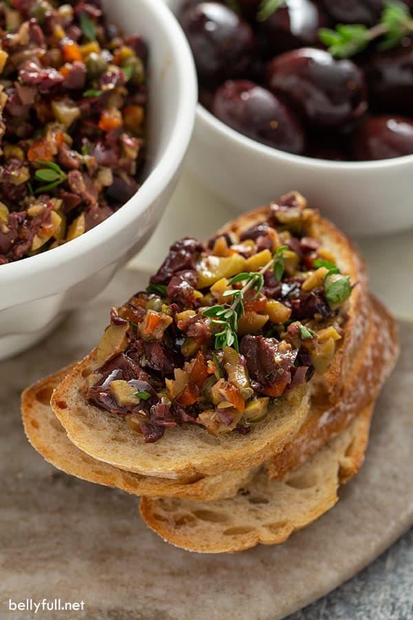 Olive Tapenade on crostini