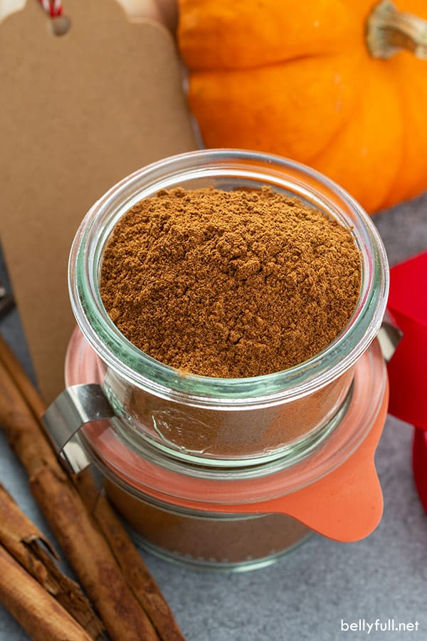 homemade pumpkin pie spice in glass container
