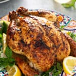 whole roasted chicken on plate