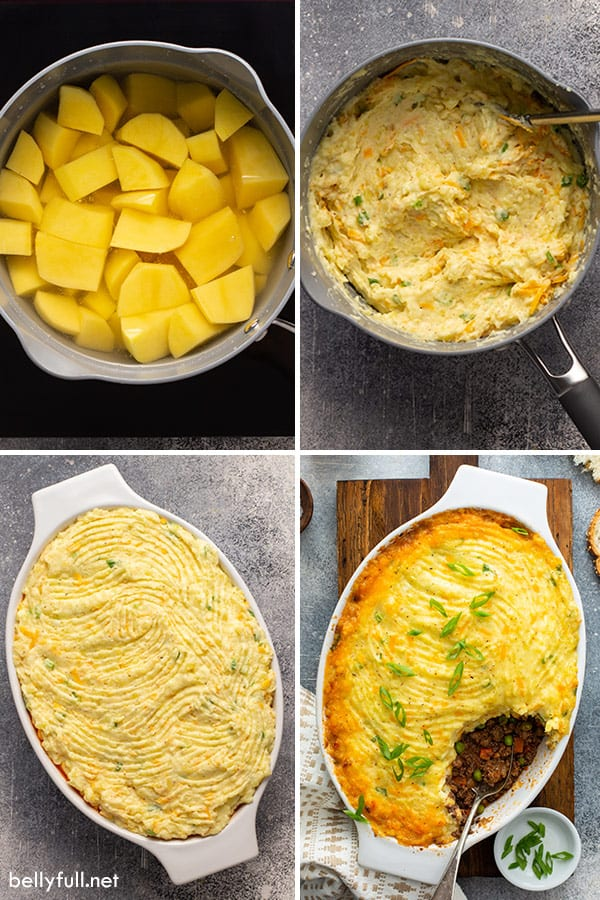 4 picture collage of mashed potatoes for shepherd's pie