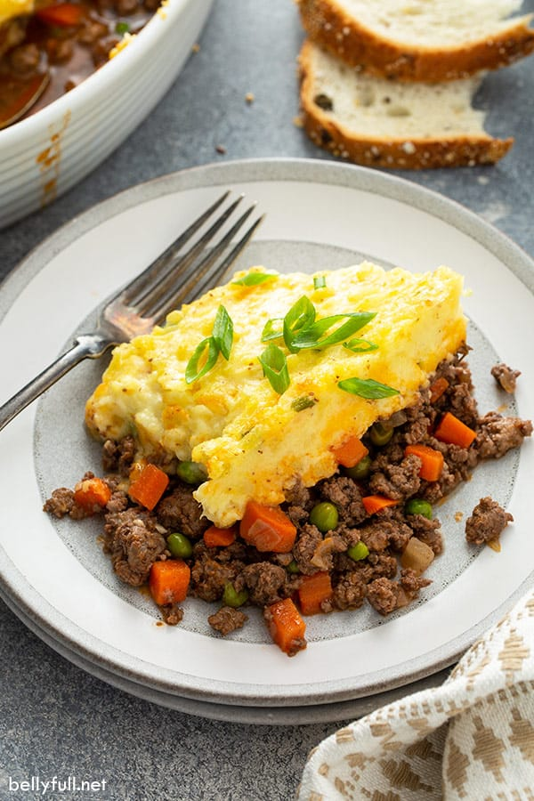 serving of shepherd's pie on plate with fork