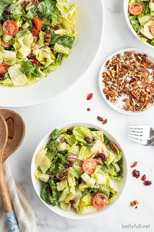 overhead side dish salad in white bowl