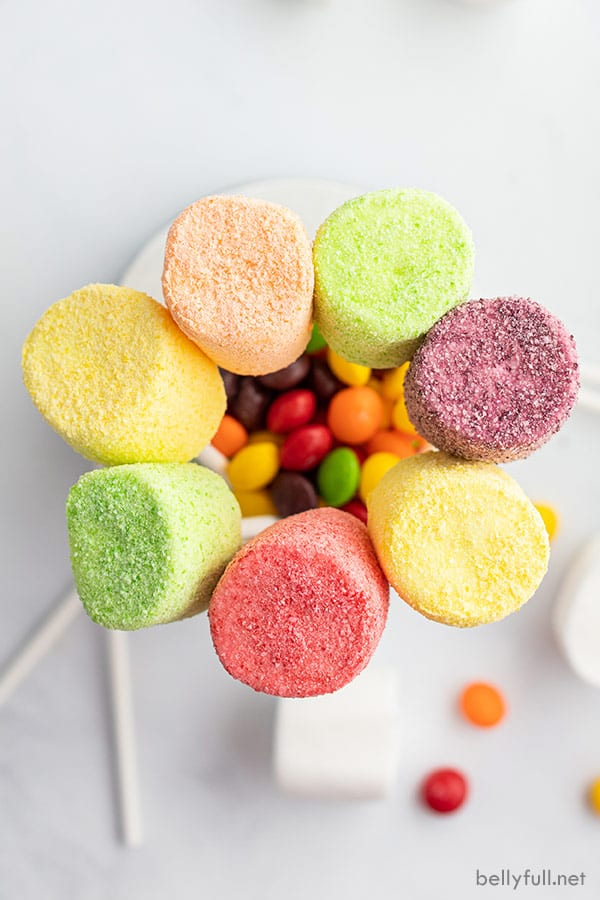 overhead rainbow colored marshmallow with skittle candy