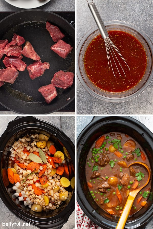 4 picture collage of slow cooker beef stew ingredients
