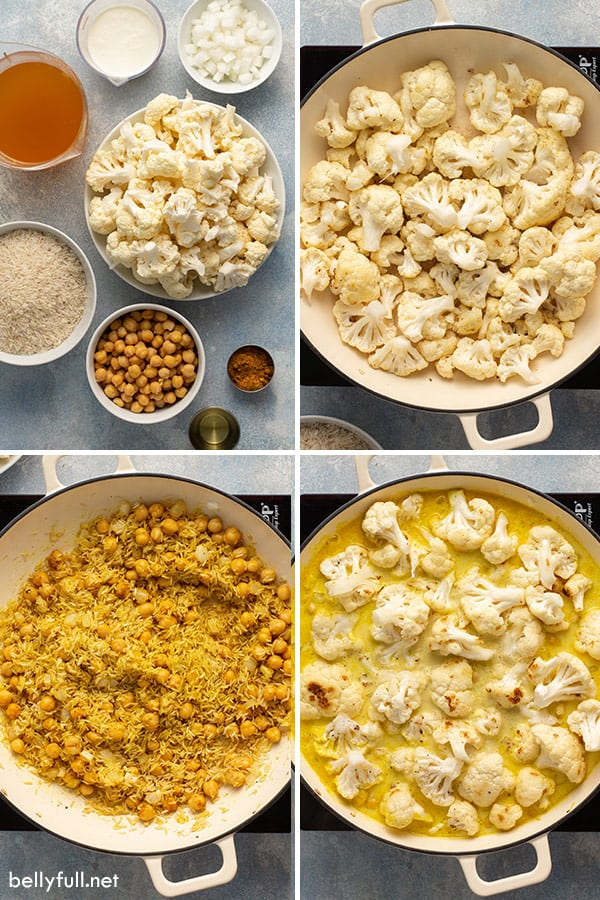 4 picture collage of cauliflower, rice, and curry