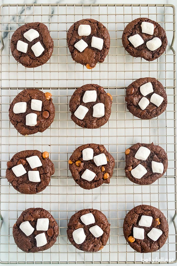 flourless gluten free chocolate cookies on cooling rack