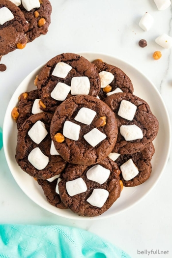 pile of hot cocoa cookies in white bowl