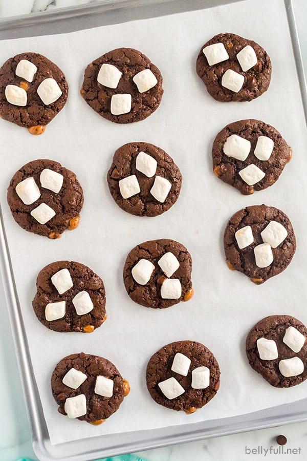 overhead hot cocoa cookies on baking sheet