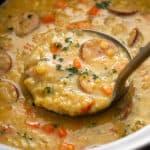 slow cooker lentil soup on ladle