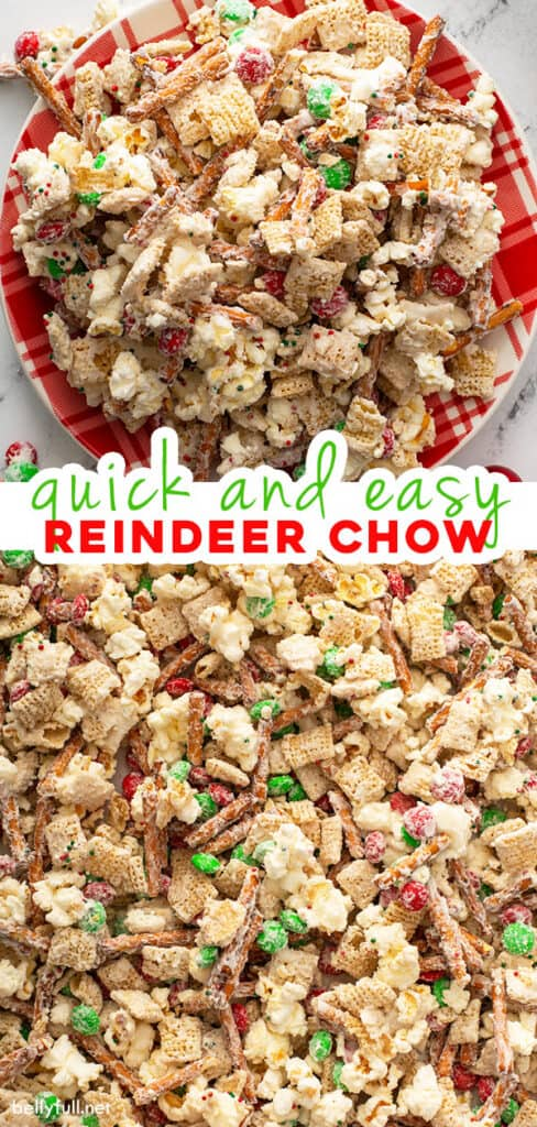 2 picture pin for Christmas Reindeer Chow snack mix