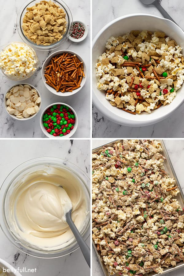 4 picture collage of snack mix being made