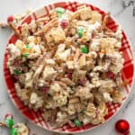 overhead of Reindeer Chow snack mix on Christmas plate