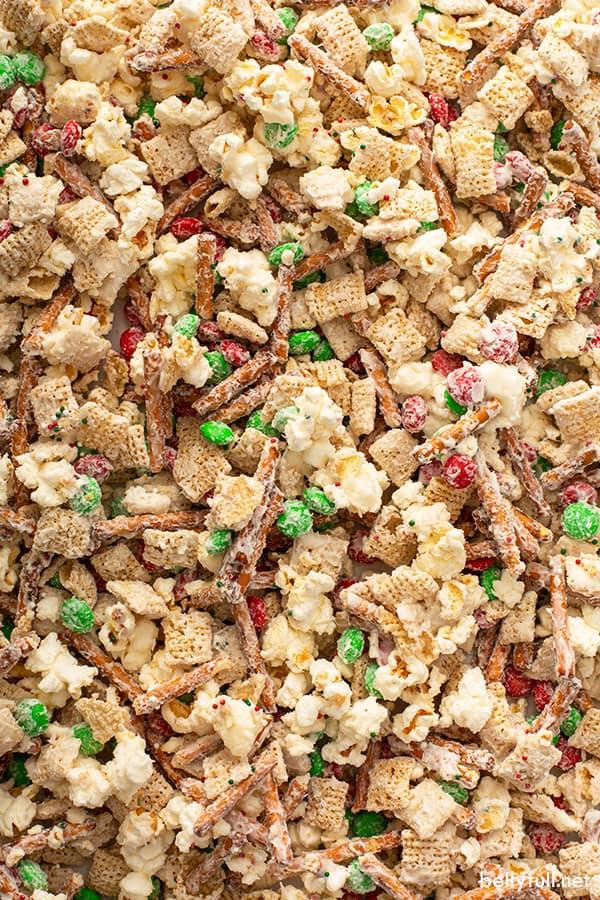 close up Reindeer Chow mix on baking sheet