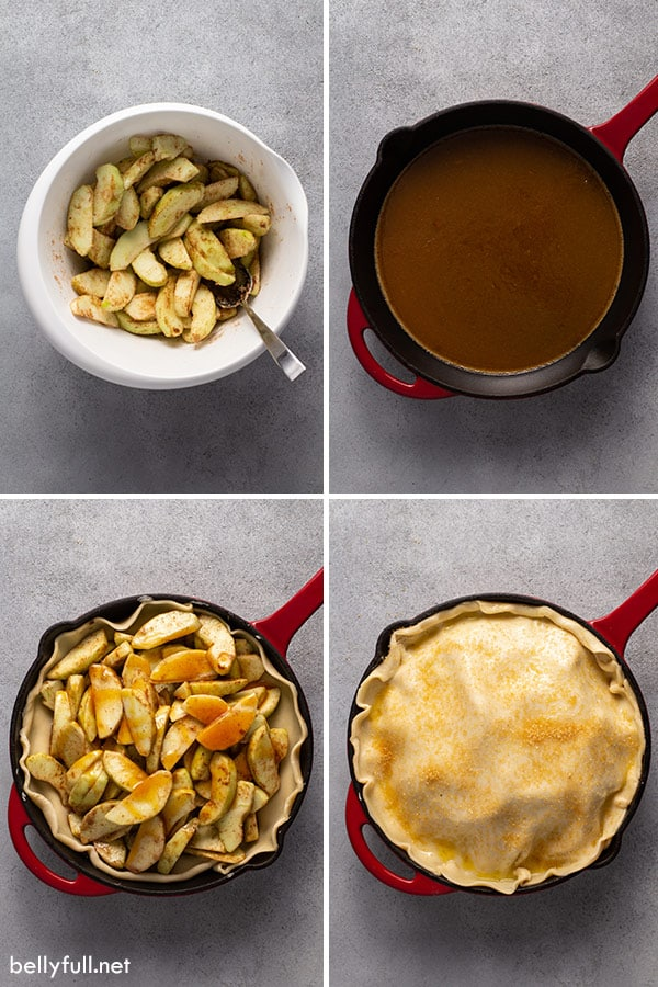 4 picture collage for skillet apple pie step by step process