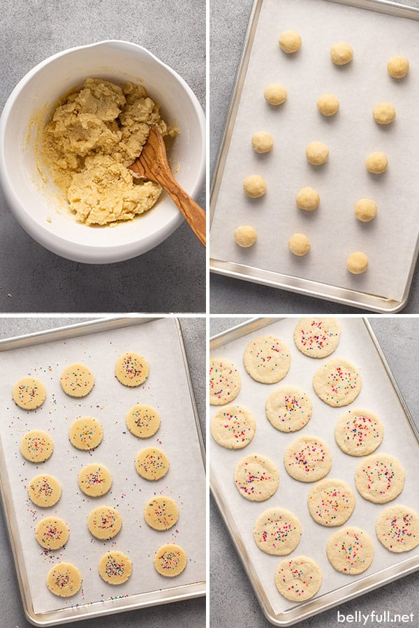4 picture collage for easy sugar cookies step by step