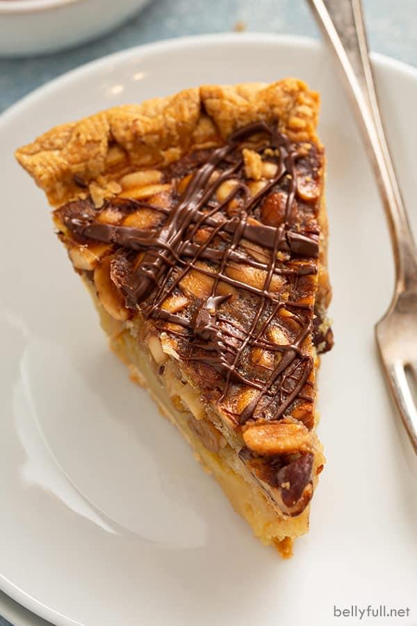 close up of turtle pie slice