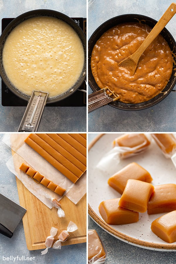 4 picture collage for making caramel candy