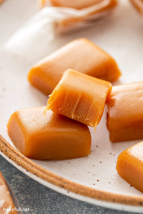 homemade caramel candy with bite taken out