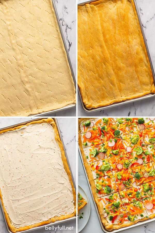 4 picture collage of Crescent Roll Veggie Pizza ingredients