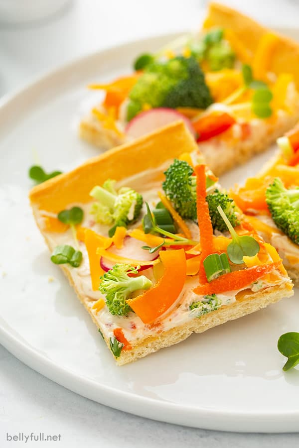 slice of cold veggie pizza appetizer on white plate