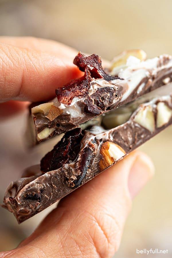 close up of chocolate bark cut in half