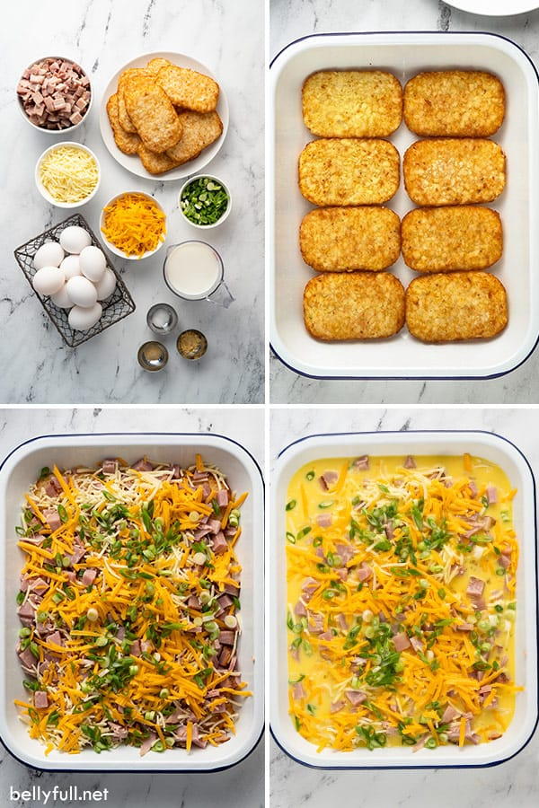 4 picture collage for hash brown casserole ingredients
