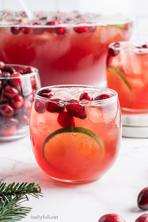 Christmas holiday punch in small glass tumbler