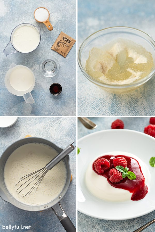 4 picture collage of panna cotta ingredients