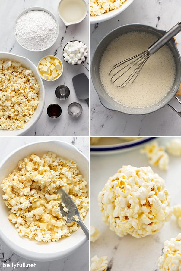 4 picture collage of popcorn balls being made