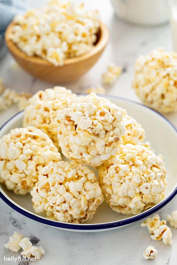 bowl of 6 marshmallow popcorn balls