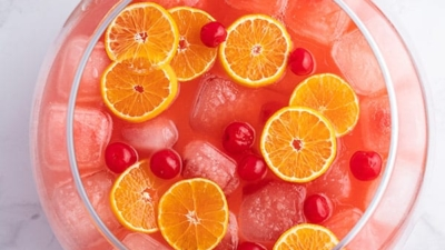 overhead of Shirley Temple punch bowl