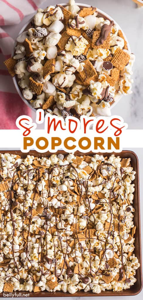 pin for s'mores popcorn recipe