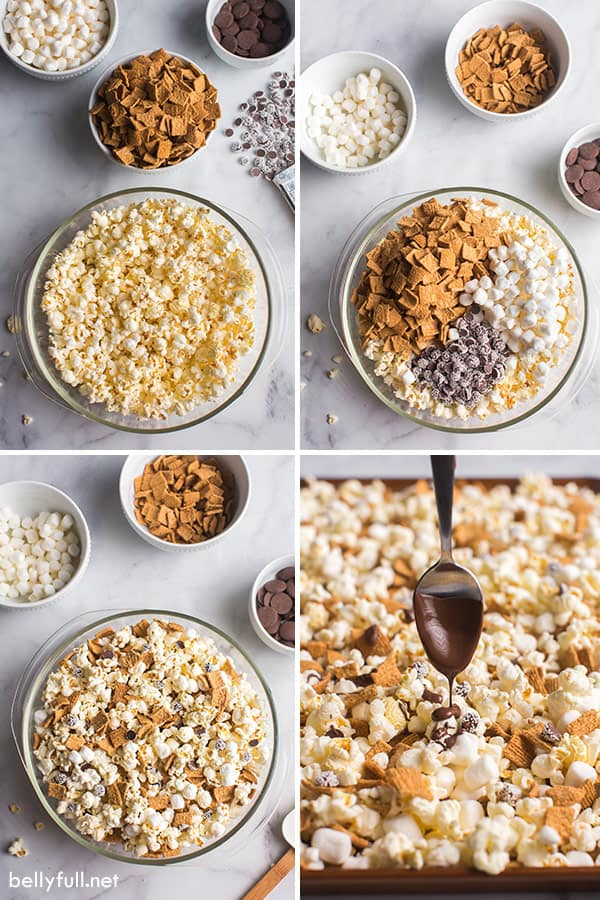 4 picture collage of s'mores popcorn snack recipe