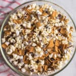 overhead S'mores Popcorn mix in large glass bowl