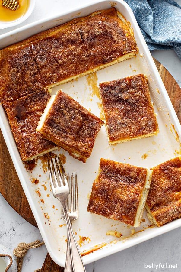 overhead Sopapilla Cheesecake bars in casserole dish