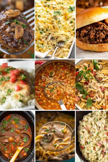 9 picture collage for easy dinners