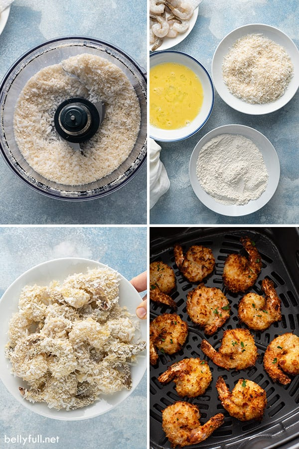 4 picture collage of how to make coconut shrimp