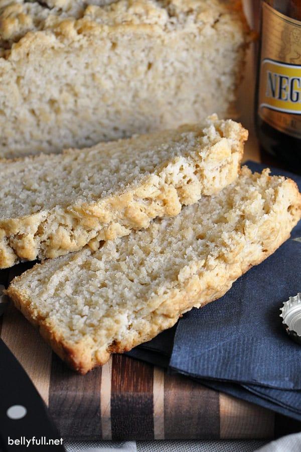 sliced beer bread on cutting board