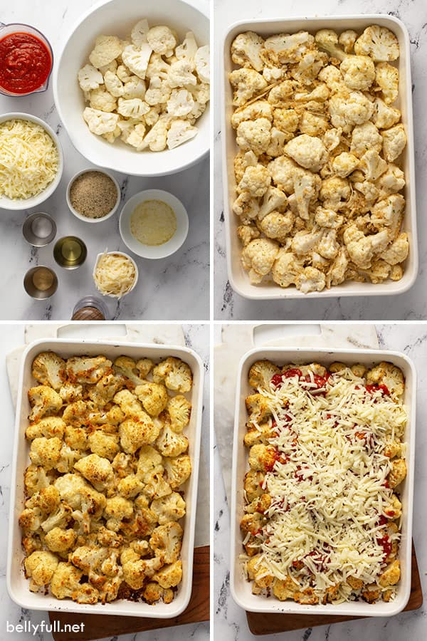 4 picture collage of how to make cauliflower parmesan