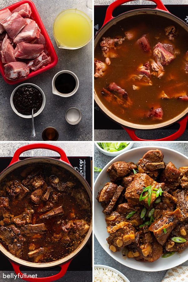 4 picture collage of mini pork ribs being made