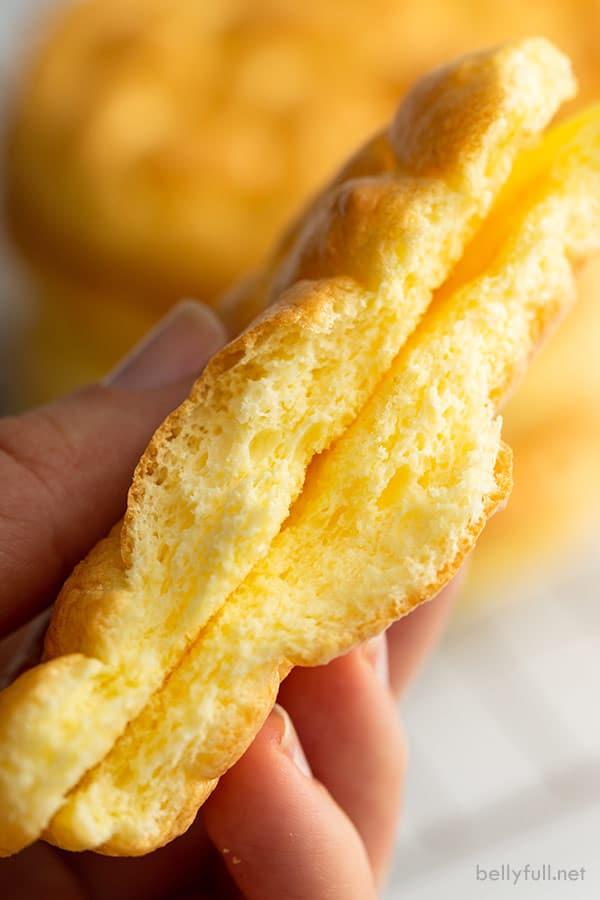 close up slice of keto cloud bread cut in half