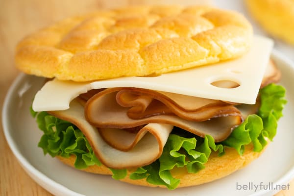 ham and cheese sandwich with low carb bread