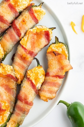 close up overhead of bacon jalapeno poppers