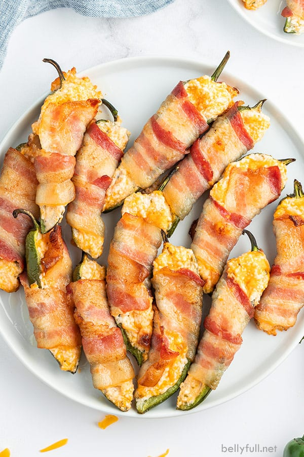 overhead plate full of bacon jalapeno poppers
